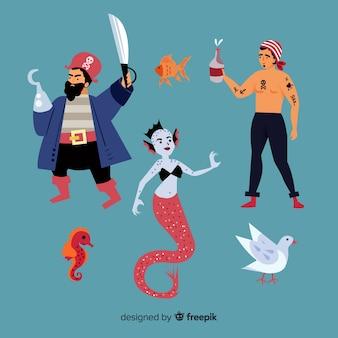 Design piatto collezione di personaggi di vita marina