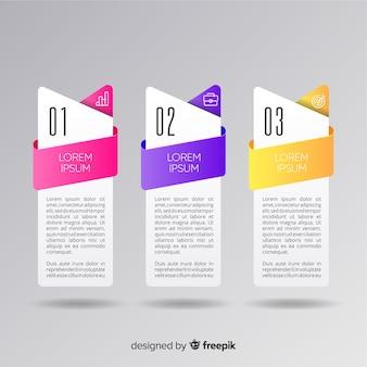 Design piatto collezione passaggi infografica