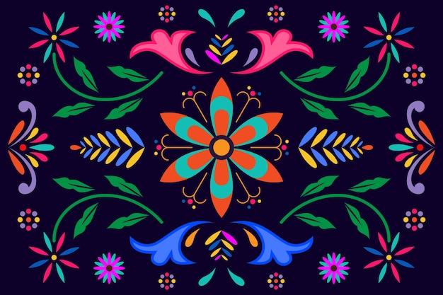 Design piatto colorato carta da parati messicana
