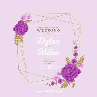 Design piatto colorato di invito a nozze cornice floreale