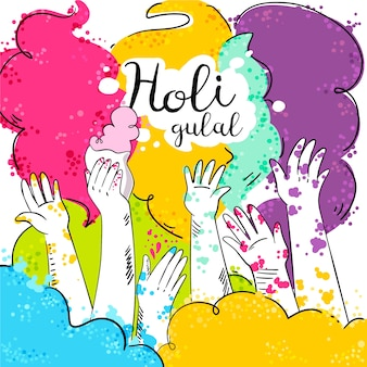 Design piatto colorato holi gulal con le mani in alto