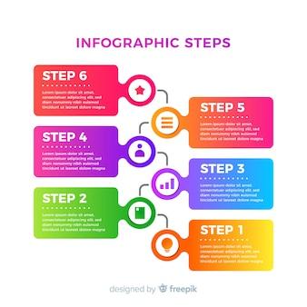 Design piatto colorato infografica passi