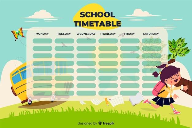 Design piatto colorato modello orario scuola