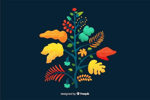 Design piatto colorato ramo floreale