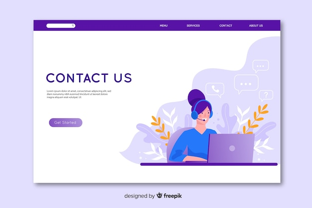 Design piatto contattaci landing page