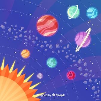 Design piatto dei pianeti nel sistema solare