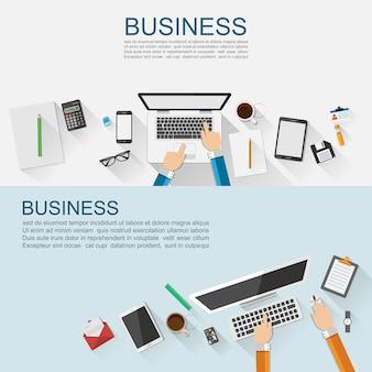 Design piatto del concetto di business sul posto di lavoro.