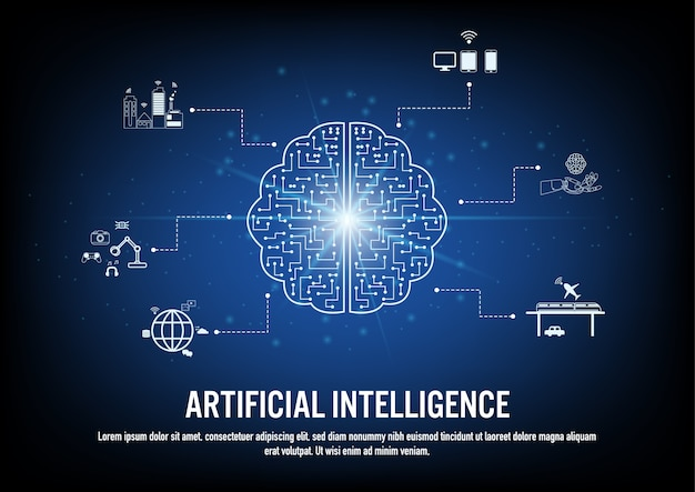 Design piatto del concetto di intelligenza artificiale