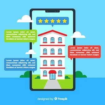 Design piatto del concetto di prenotazione di hotel con dettagli