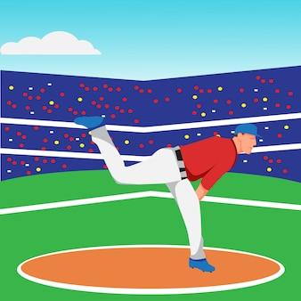 Design piatto del lanciatore di baseball
