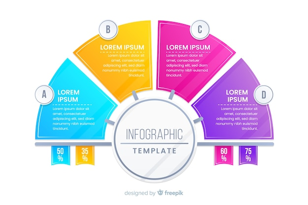 Design piatto del modello colorato infografica