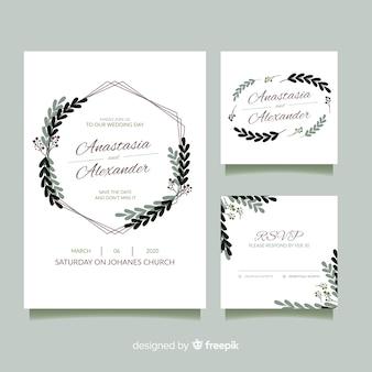 Design piatto del modello di cancelleria di nozze