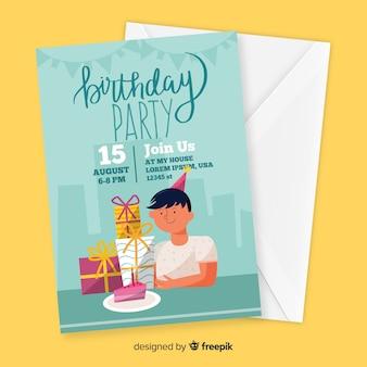 Design piatto del modello di invito di compleanno