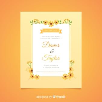 Design piatto del modello di invito di matrimonio floreale arancione