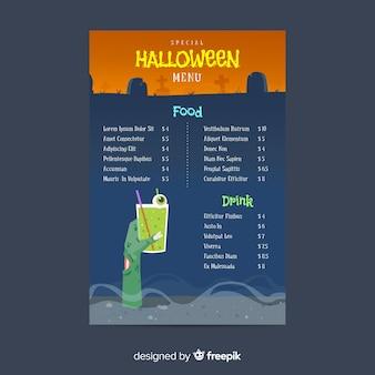 Design piatto del modello di menu di halloween