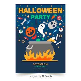 Design piatto del modello di poster colorato festa di halloween