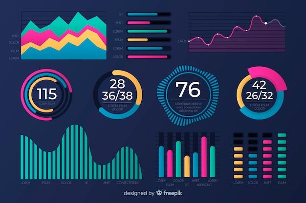 Design piatto del modello di raccolta dei grafici