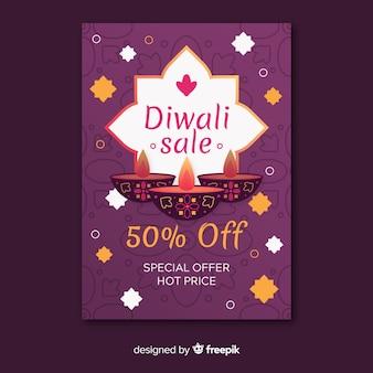 Design piatto del modello di volantino di diwali