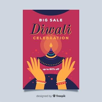 Design piatto del modello di volantino di vendita di diwali