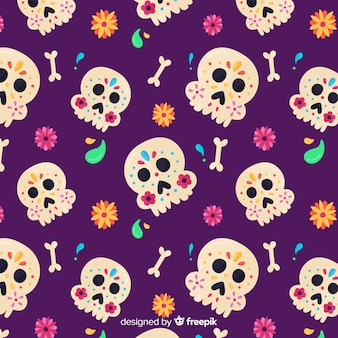 Design piatto del modello dia de muertos