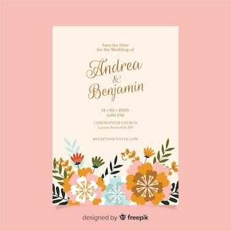 Design piatto del modello floreale dell'invito di nozze