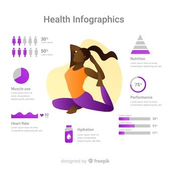 Design piatto del modello infographic di salute