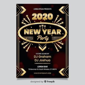 Design piatto del poster del nuovo anno 2020