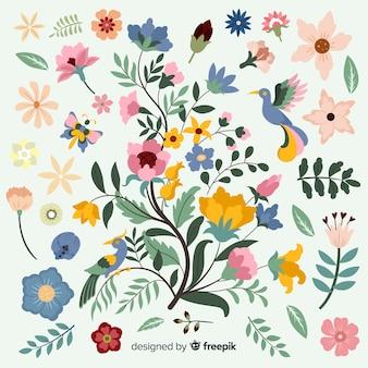 Design piatto del ramo floreale colorato