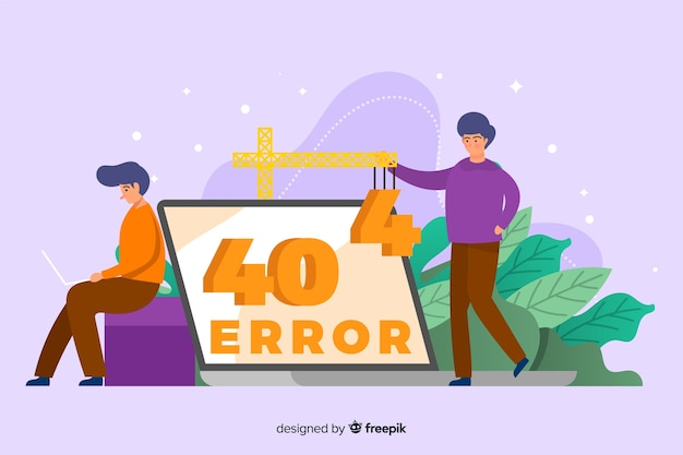 Design piatto dell'errore 404 modello di pagina di destinazione