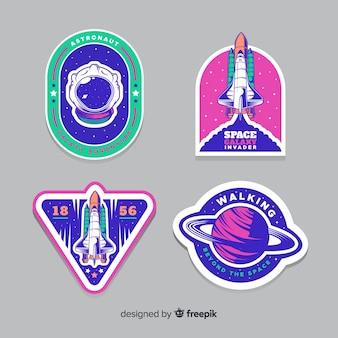 Design piatto della collezione di adesivi spaziali