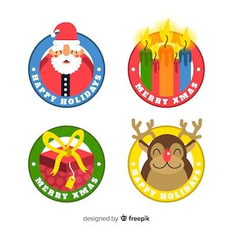 Design piatto della collezione di badge di natale