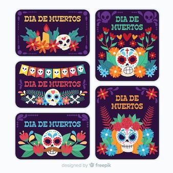 Design piatto della collezione di badge dia de muertos