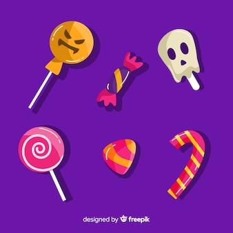 Design piatto della collezione di caramelle di halloween