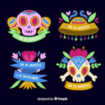 Design piatto della collezione di etichette dia de muertos