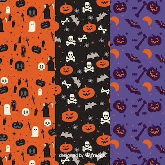 Design piatto della collezione di pattern di halloween