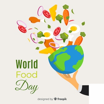 Design piatto della giornata mondiale dell'alimentazione con il pianeta