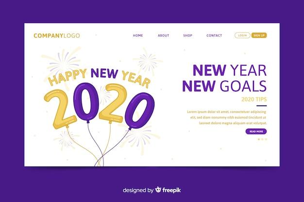 Design piatto della landing page del nuovo anno