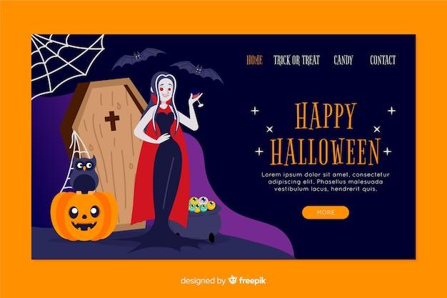 Design piatto della landing page di halloween
