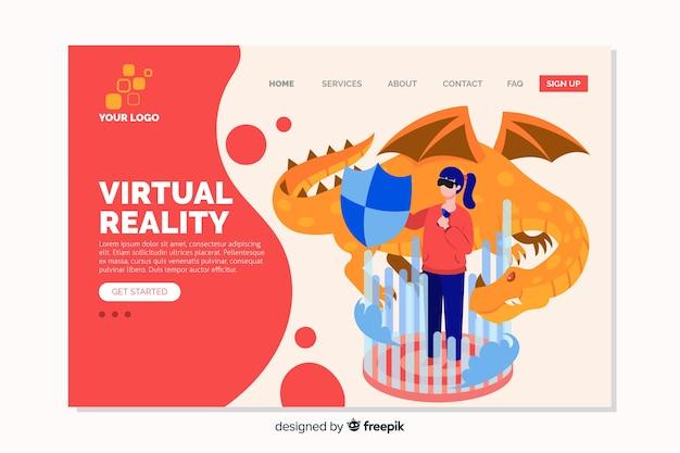 Design piatto della landing page di realtà virtuale