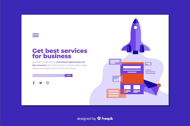 Design piatto della pagina di destinazione aziendale
