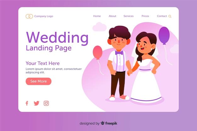 Design piatto della pagina di destinazione del matrimonio
