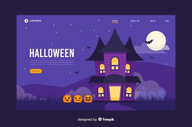 Design piatto della pagina di destinazione della casa stregata di halloween