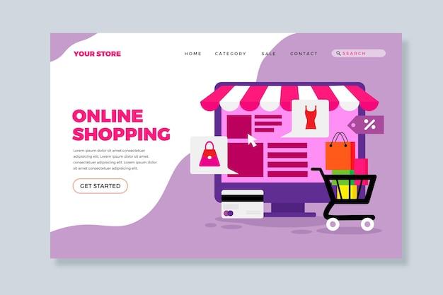 Design piatto della pagina di destinazione dello shopping online