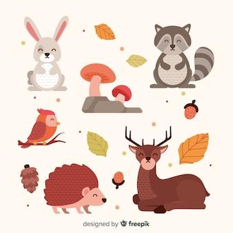 Design piatto di animali della foresta d'autunno