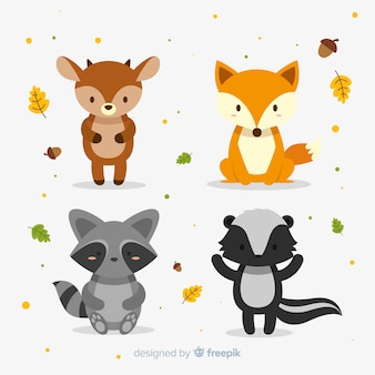 Design piatto di animali foresta d'autunno