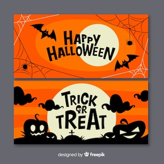 Design piatto di banner di halloween