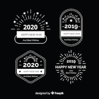Design piatto di banner festa di capodanno 2020