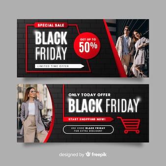 Design piatto di banner venerdì nero con foto