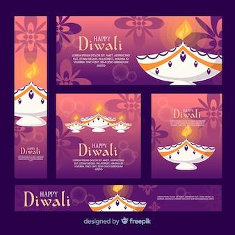 Design piatto di banner web diwali
