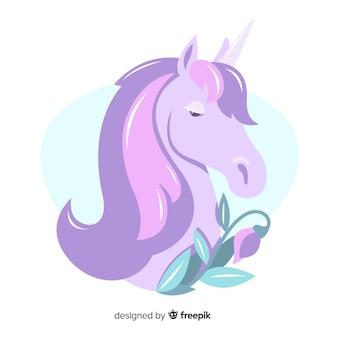 Design piatto di colore pastello unicorno